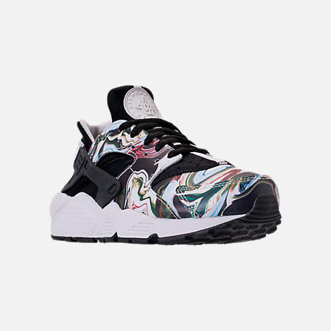 Three Quarter view of Women's Nike Air Huarache Run Premium Running Shoes in Black/Black/Vast Grey