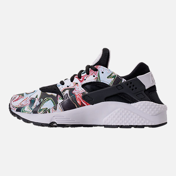 Left view of Women's Nike Air Huarache Run Premium Running Shoes in Black/Black/Vast Grey