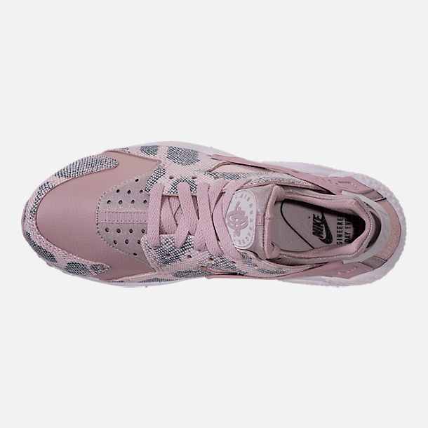 Top view of Women's Nike Air Huarache Run Premium Running Shoes in Particle Rose/Vast Grey