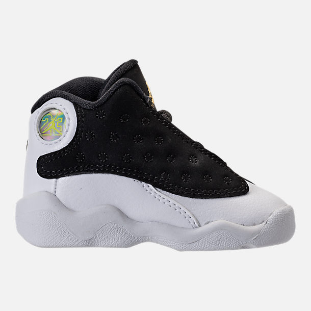 Right view of Kids' Toddler Air Jordan Retro 13 Basketball Shoes in Black/Metallic Gold/White/Gum Med