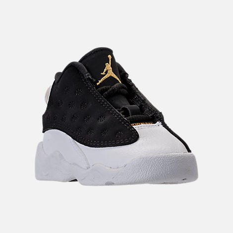 Three Quarter view of Kids' Toddler Air Jordan Retro 13 Basketball Shoes in Black/Metallic Gold/White/Gum Med