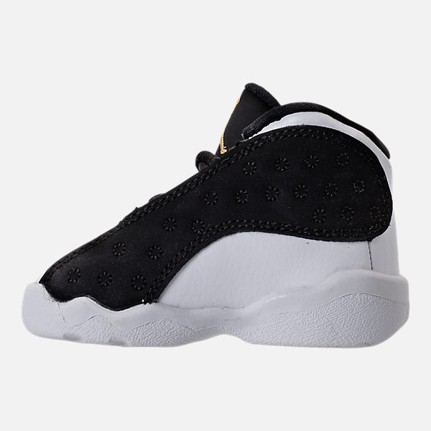 Left view of Kids' Toddler Air Jordan Retro 13 Basketball Shoes in Black/Metallic Gold/White/Gum Med