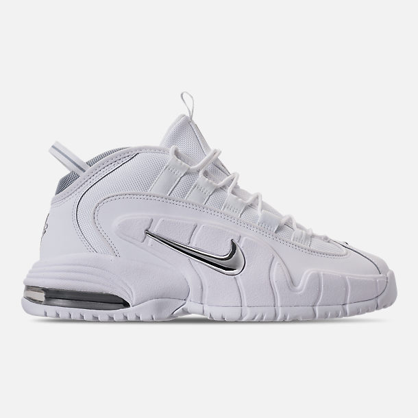 Right view of Men's Nike Air Max Penny Basketball Shoes in White/Metallic Silver