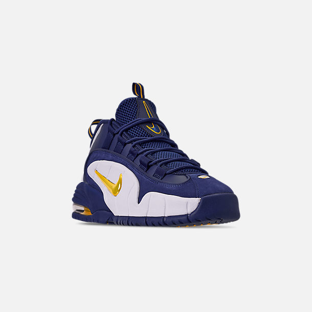 1848652ffe Three Quarter view of Men's Nike Air Max Penny Basketball Shoes in Deep  Royal/Amarillo