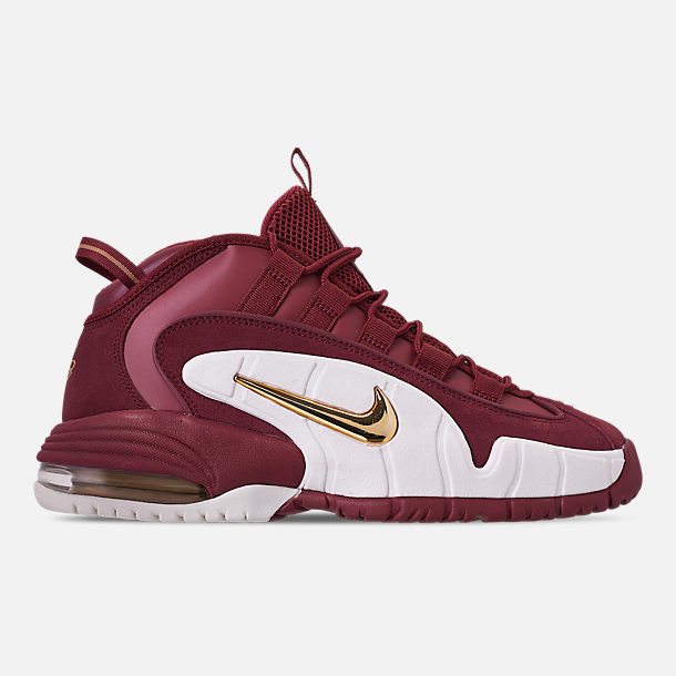 Right view of Men's Nike Air Max Penny Basketball Shoes in Team Red/Metallic Gold/Summit White