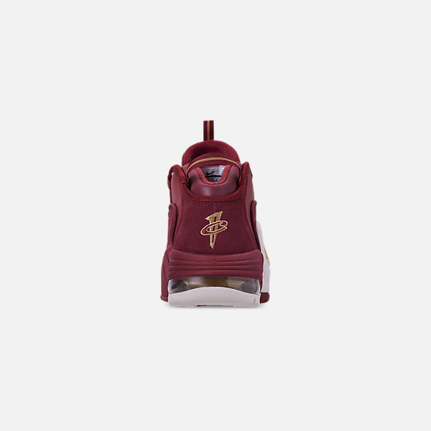 Back view of Men's Nike Air Max Penny Basketball Shoes in Team Red/Metallic Gold/Summit White