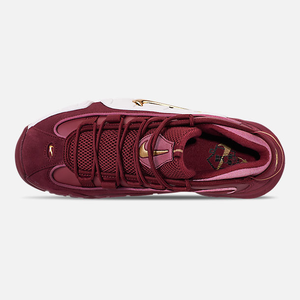 Top view of Men's Nike Air Max Penny Basketball Shoes in Team Red/Metallic Gold/Summit White
