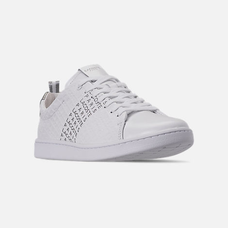 Three Quarter view of Women's Lacoste Carnaby EVO Paris Casual Shoes in White/Silver