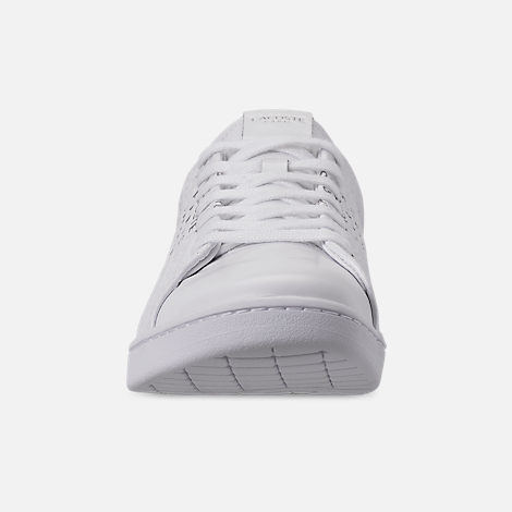 Front view of Women's Lacoste Carnaby EVO Paris Casual Shoes in White/Silver