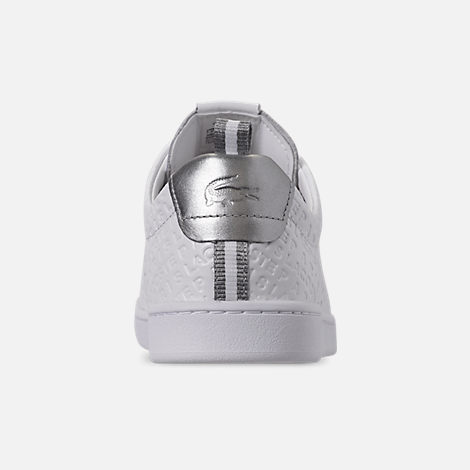 Back view of Women's Lacoste Carnaby EVO Paris Casual Shoes in White/Silver
