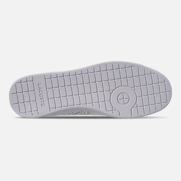 Bottom view of Women's Lacoste Carnaby EVO Paris Casual Shoes in White/Silver