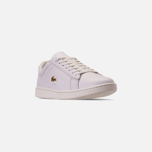 Three Quarter view of Women's Lacoste Carnaby EVO Casual Shoes in Off White/Off White