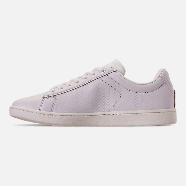 Left view of Women's Lacoste Carnaby EVO Casual Shoes in Off White/Off White
