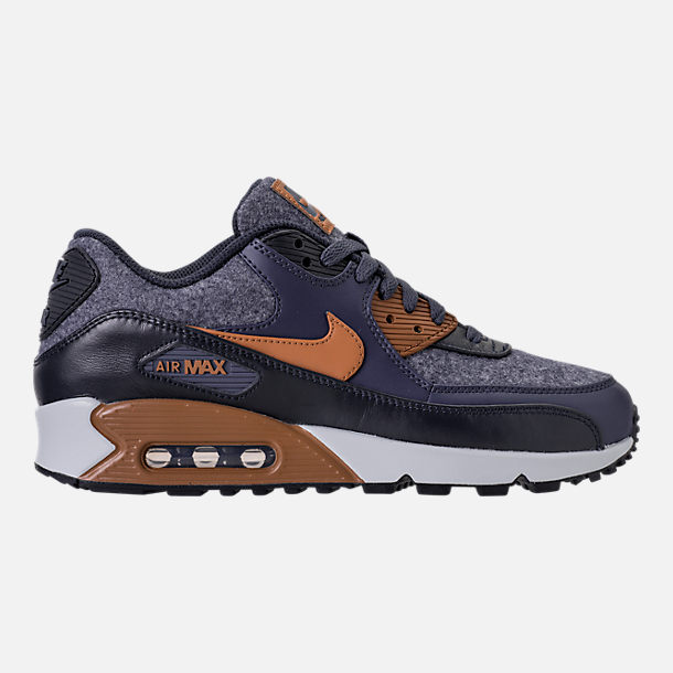 Right view of Men's Nike Air Max 90 Premium Running Shoes in Thunder Blue/Ale Brown/Dark Obsidian