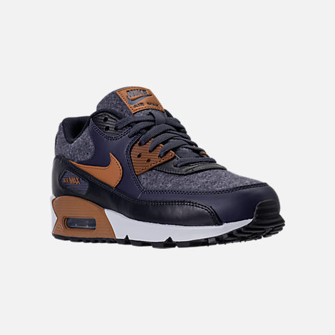 Three Quarter view of Men's Nike Air Max 90 Premium Running Shoes in Thunder Blue/Ale Brown/Dark Obsidian