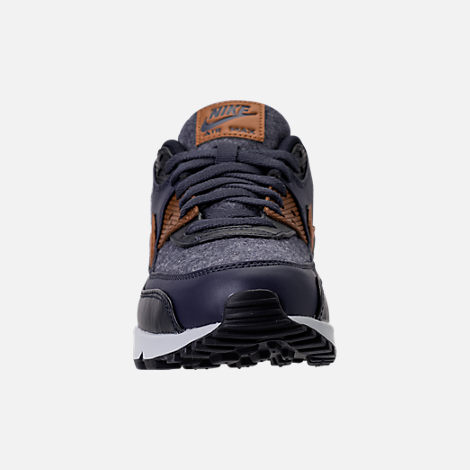 Front view of Men's Nike Air Max 90 Premium Running Shoes in Thunder Blue/Ale Brown/Dark Obsidian