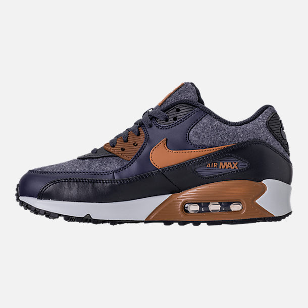 Left view of Men's Nike Air Max 90 Premium Running Shoes in Thunder Blue/Ale Brown/Dark Obsidian