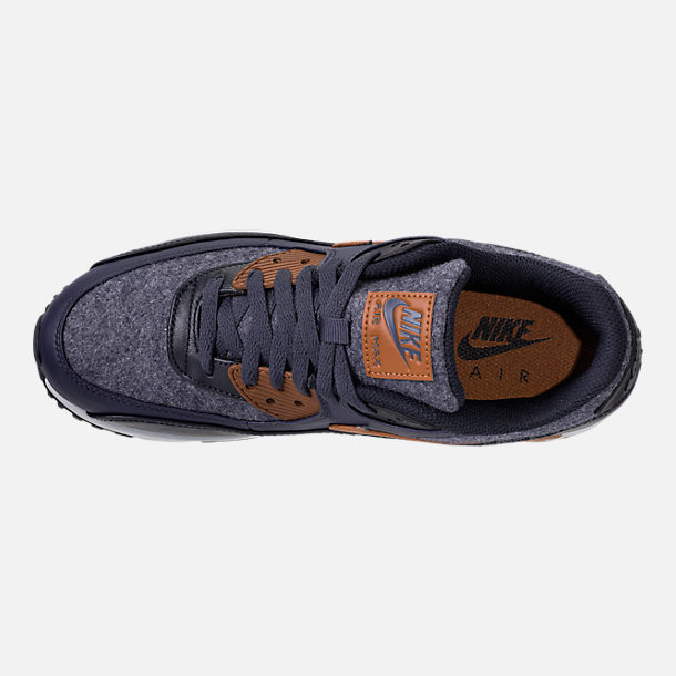 Top view of Men's Nike Air Max 90 Premium Running Shoes in Thunder Blue/Ale Brown/Dark Obsidian