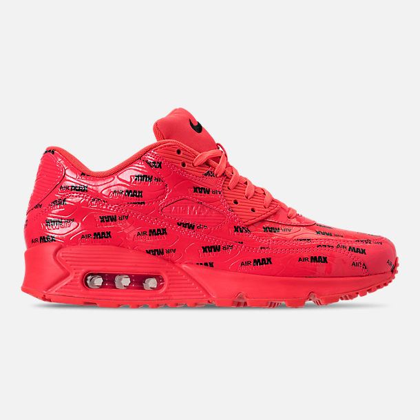 Right view of Men's Nike Air Max 90 Premium Casual Shoes in Bright Crimson/Black