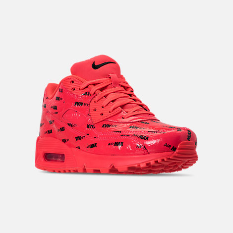 Three Quarter view of Men's Nike Air Max 90 Premium Casual Shoes in Bright Crimson/Black