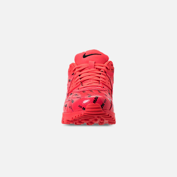 Front view of Men's Nike Air Max 90 Premium Casual Shoes in Bright Crimson/Black