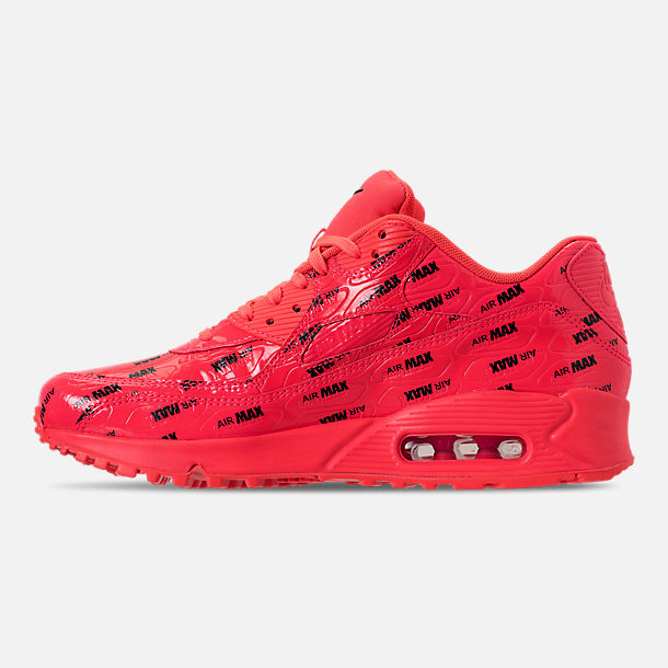 Left view of Men's Nike Air Max 90 Premium Casual Shoes in Bright Crimson/Black