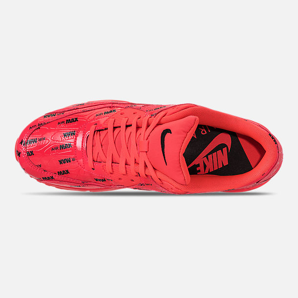 Top view of Men's Nike Air Max 90 Premium Casual Shoes in Bright Crimson/Black