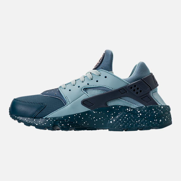 Left view of Men's Nike Air Huarache Run Premium Running Shoes in Blue Force/Diffused Blue/Ocean