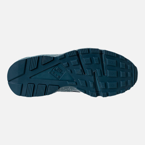 Bottom view of Men's Nike Air Huarache Run Premium Running Shoes in Blue Force/Diffused Blue/Ocean