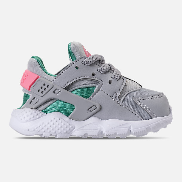 Right view of Kids' Toddler Nike Huarache Run Running Shoes in WOlf Grey/Sunset Pulse/Kinetic Green
