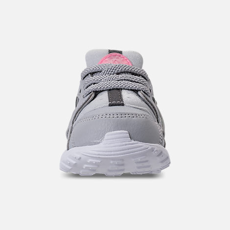 Front view of Kids' Toddler Nike Huarache Run Running Shoes in WOlf Grey/Sunset Pulse/Kinetic Green
