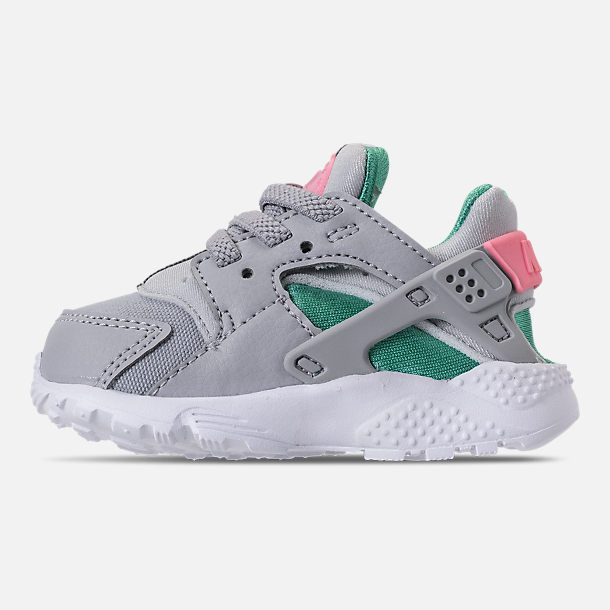 Left view of Kids' Toddler Nike Huarache Run Running Shoes in WOlf Grey/Sunset Pulse/Kinetic Green