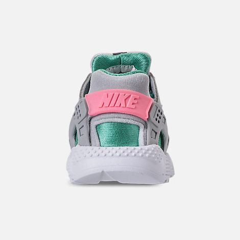 Back view of Kids' Toddler Nike Huarache Run Running Shoes in WOlf Grey/Sunset Pulse/Kinetic Green
