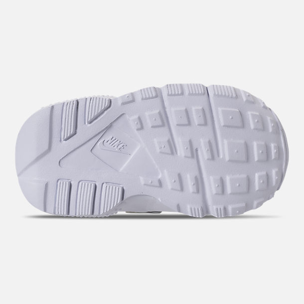 Bottom view of Kids' Toddler Nike Huarache Run Running Shoes in WOlf Grey/Sunset Pulse/Kinetic Green
