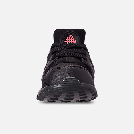 Front view of Kids' Toddler Nike Huarache Run Casual Shoes in Black/Anthracite/Solar Red