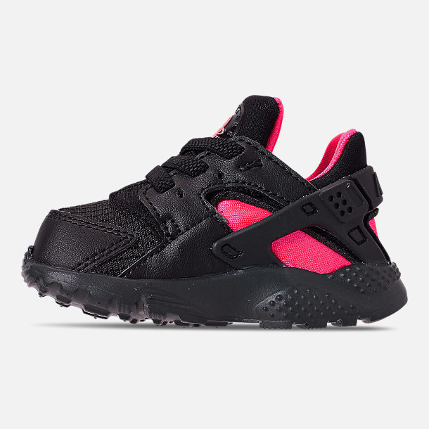 Left view of Kids' Toddler Nike Huarache Run Casual Shoes in Black/Anthracite/Solar Red