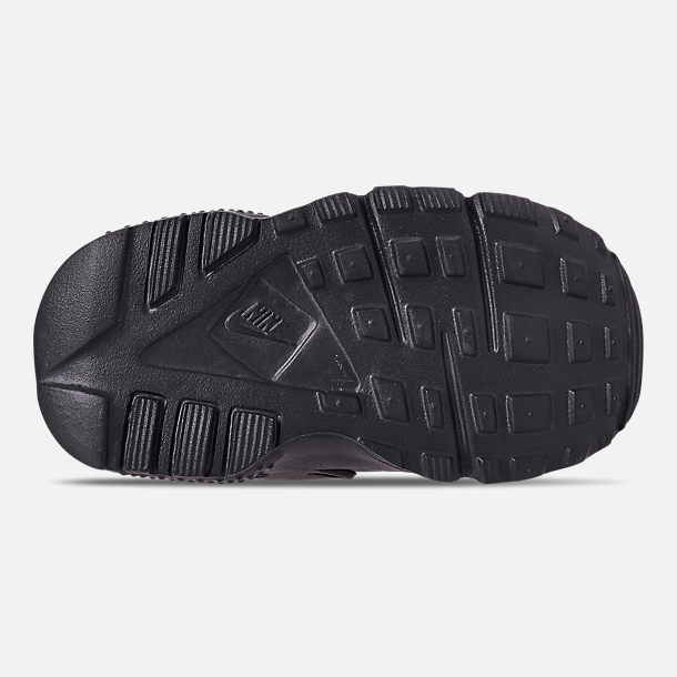 Bottom view of Kids' Toddler Nike Huarache Run Casual Shoes in Black/Anthracite/Solar Red