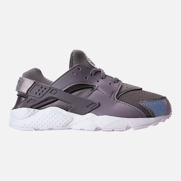 Right view of Girls' Little Kids' Nike Huarache Run Running Shoes in Gunsmoke/Metallic Silver/White