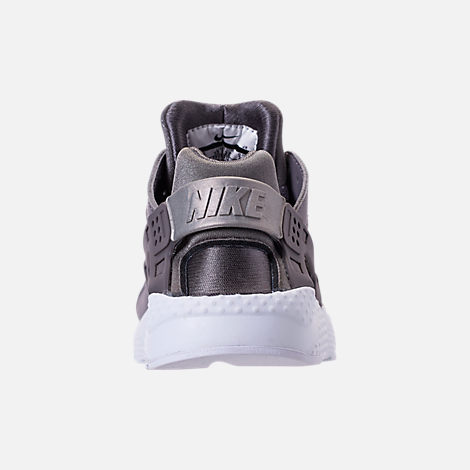 Back view of Girls' Little Kids' Nike Huarache Run Running Shoes in Gunsmoke/Metallic Silver/White