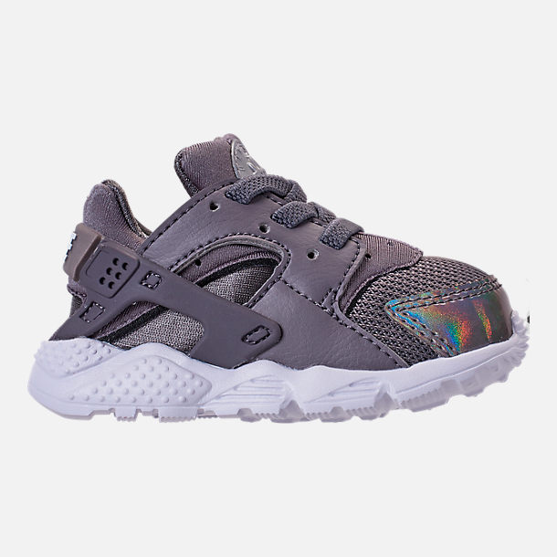 Right view of Kids' Toddler Nike Huarache Run Casual Shoes in Gunsmoke/Metallic Silver/White