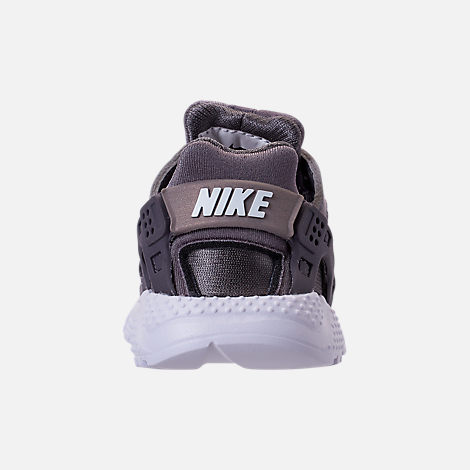 Back view of Kids' Toddler Nike Huarache Run Casual Shoes in Gunsmoke/Metallic Silver/White