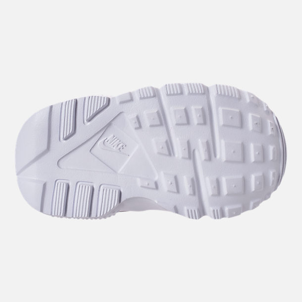 Bottom view of Kids' Toddler Nike Huarache Run Casual Shoes in Gunsmoke/Metallic Silver/White