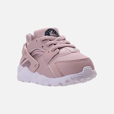 Three Quarter view of Girls' Toddler Nike Huarache Run Running Shoes in Particle Rose/Particle Rose/Thunder