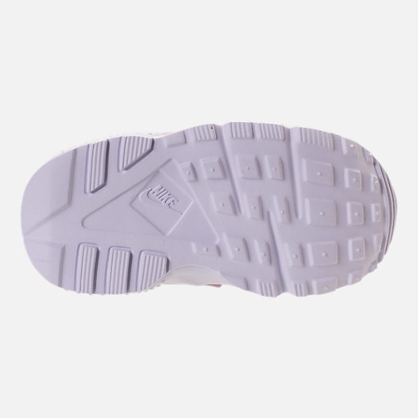 Bottom view of Girls' Toddler Nike Huarache Run Running Shoes in Particle Rose/Particle Rose/Thunder