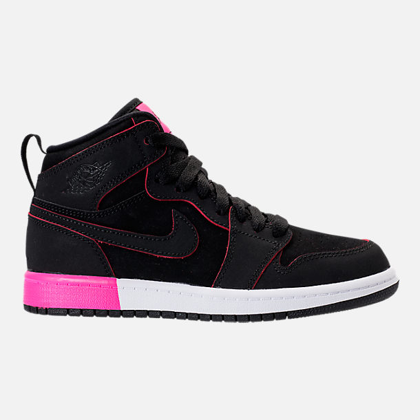 Right view of Girls' Preschool Jordan Retro 1 High Basketball Shoes in Black/Hyper Pink/White