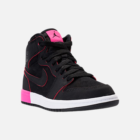 Three Quarter view of Girls' Preschool Jordan Retro 1 High Basketball Shoes in Black/Hyper Pink/White