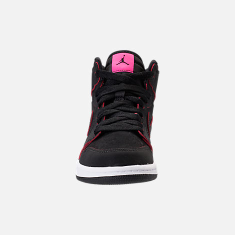 Front view of Girls' Preschool Jordan Retro 1 High Basketball Shoes in Black/Hyper Pink/White
