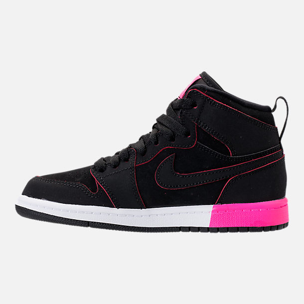 Left view of Girls' Preschool Jordan Retro 1 High Basketball Shoes in Black/Hyper Pink/White
