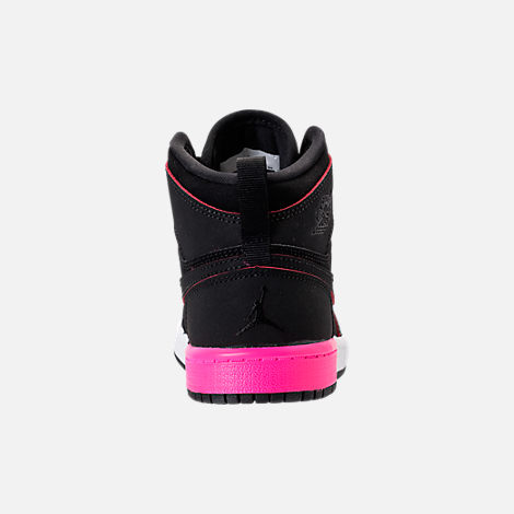 Back view of Girls' Preschool Jordan Retro 1 High Basketball Shoes in Black/Hyper Pink/White
