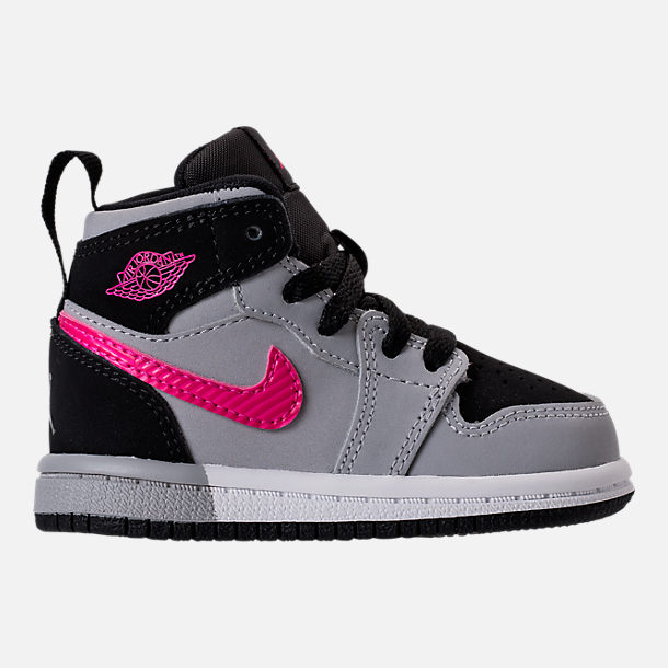 Right view of Girls' Toddler Jordan Retro 1 High Basketball Shoes in Black/Deadly Pink/Wolf Grey/White